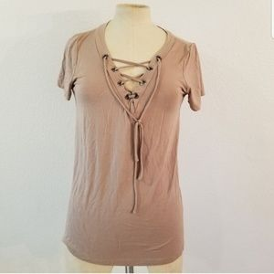 Lulu's V Neck Lace Up Basic Tee Sz S Brown